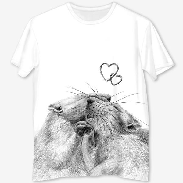 Футболка с полной запечаткой «влюбленные крысы»