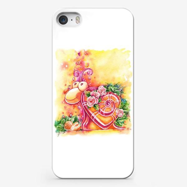 Чехол iPhone «Улитка на день святого Валентина»