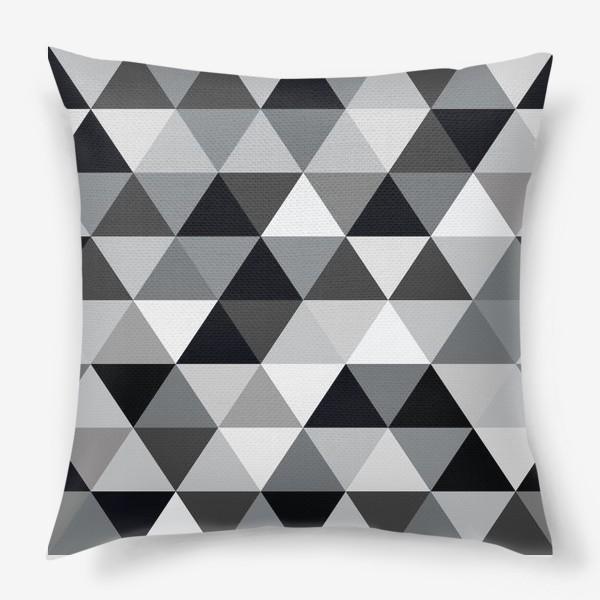 Подушка «Монохромный паттерн из треугольников»