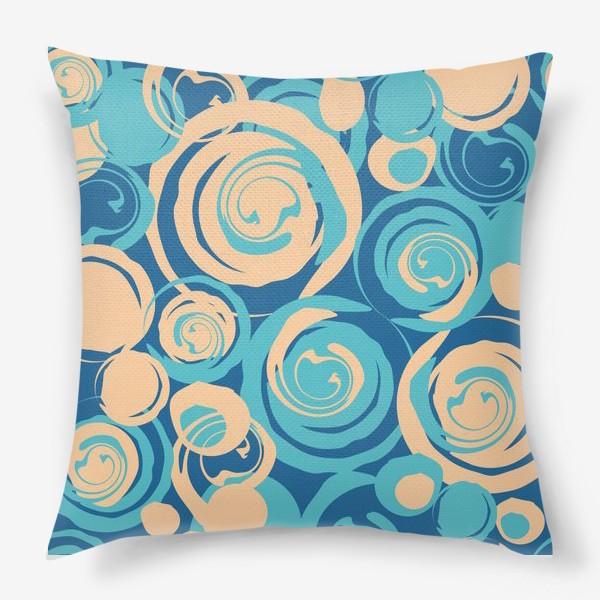 Подушка «абстрактный фон круги и спирали на синем фоне»