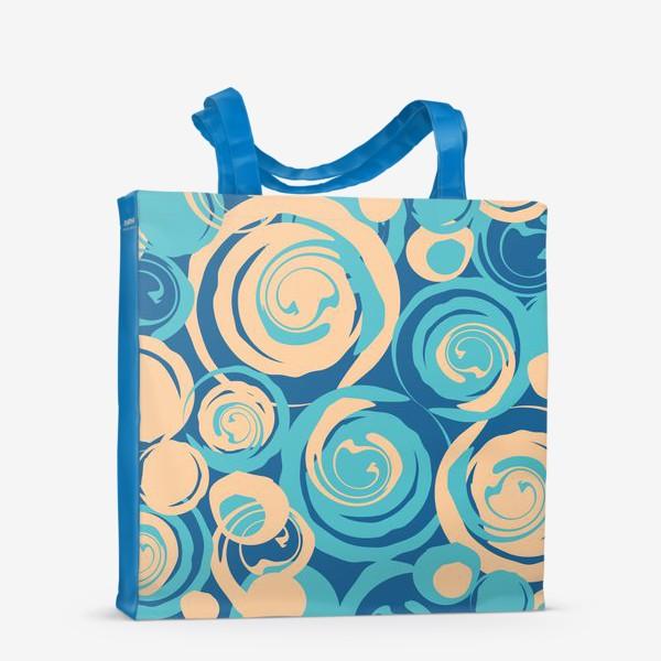 Сумка-шоппер «абстрактный фон круги и спирали на синем фоне»