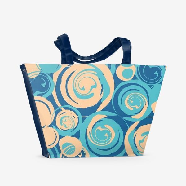 Пляжная сумка «абстрактный фон круги и спирали на синем фоне»