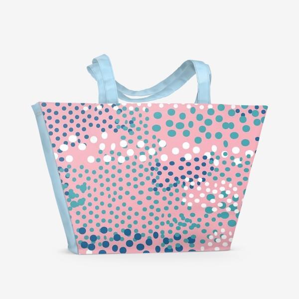 Пляжная сумка «абстрактный розовый фон с точками»