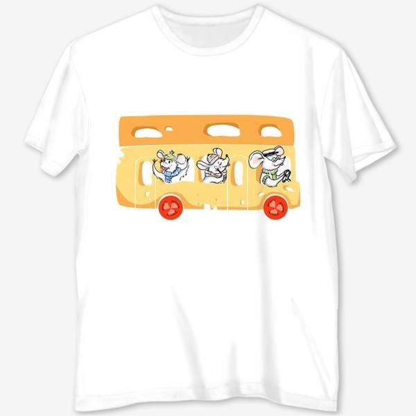 Футболка с полной запечаткой «сырный автобус»