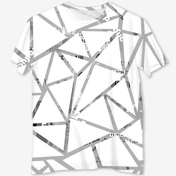 Футболка с полной запечаткой «Треугольная структура с шрифтовым коллажем»