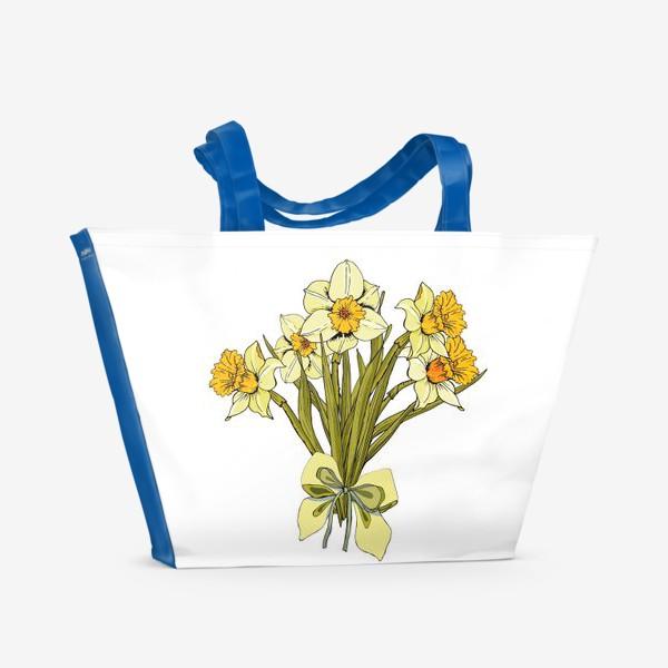 Пляжная сумка «белые нарциссы букет»