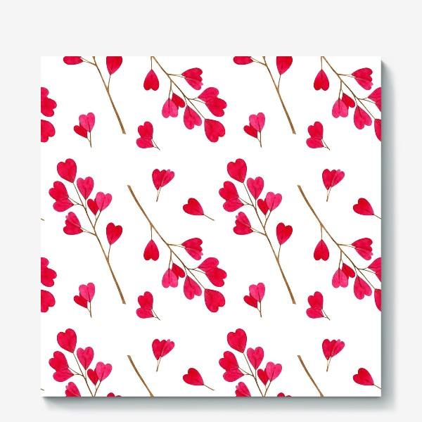 Холст «Ветки с красными листиками сердечками. Весенний акварельный паттерн на белом фоне ко дню влюбленных»