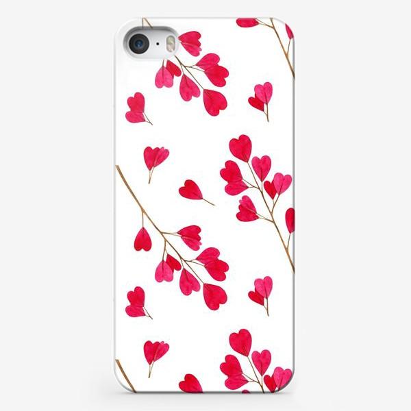 Чехол iPhone «Ветки с красными листиками сердечками. Весенний акварельный паттерн на белом фоне ко дню влюбленных»
