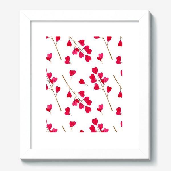 Картина «Ветки с красными листиками сердечками. Весенний акварельный паттерн на белом фоне ко дню влюбленных»