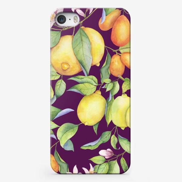 Чехол iPhone «Лимоны и цитрусы на фиолетовом. Акварель»