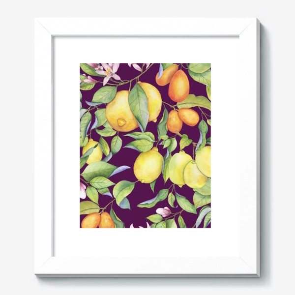 Картина «Лимоны и цитрусы на фиолетовом. Акварель»