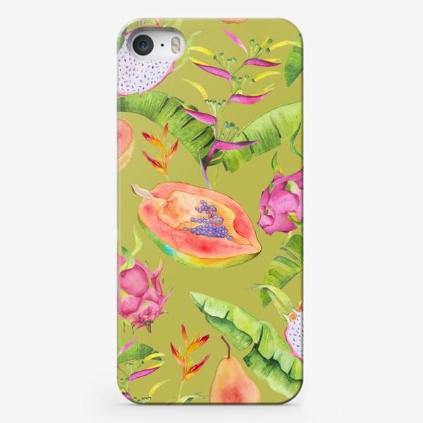 Чехол iPhone «Сочные тропические фрукты и цветы на оливковом: геликонии, драгонфрут и папайа»