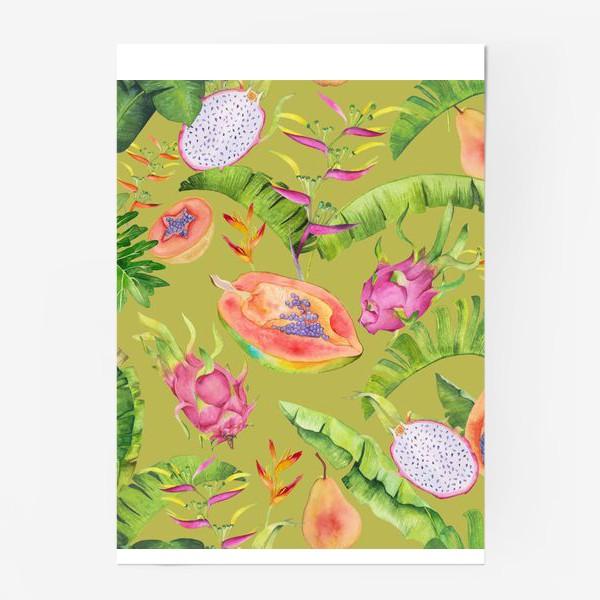 Постер «Сочные тропические фрукты и цветы на оливковом: геликонии, драгонфрут и папайа»