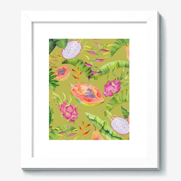 Картина «Сочные тропические фрукты и цветы на оливковом: геликонии, драгонфрут и папайа»