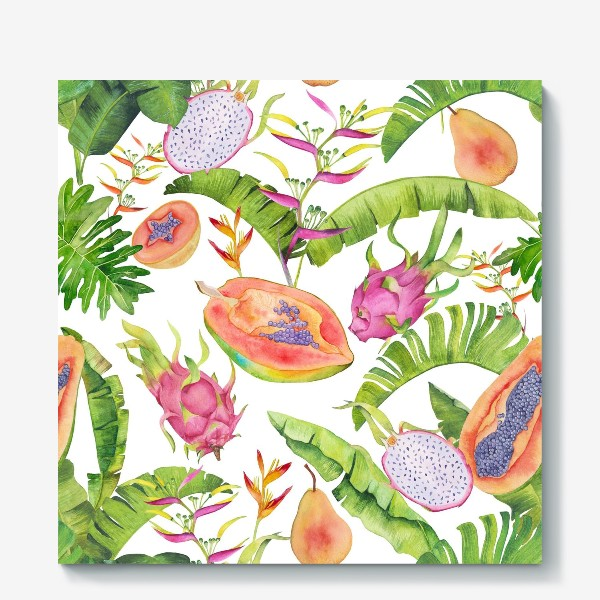Холст «Сочные тропические фрукты и цветы на белом: геликонии, драгонфрут и папайа»