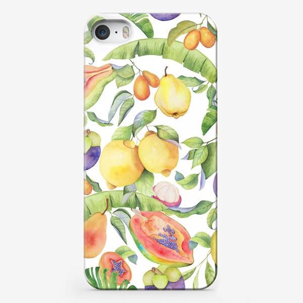 Чехол iPhone «Сочные тропические фрукты на белом: папайа, мангостин и цитрусы»