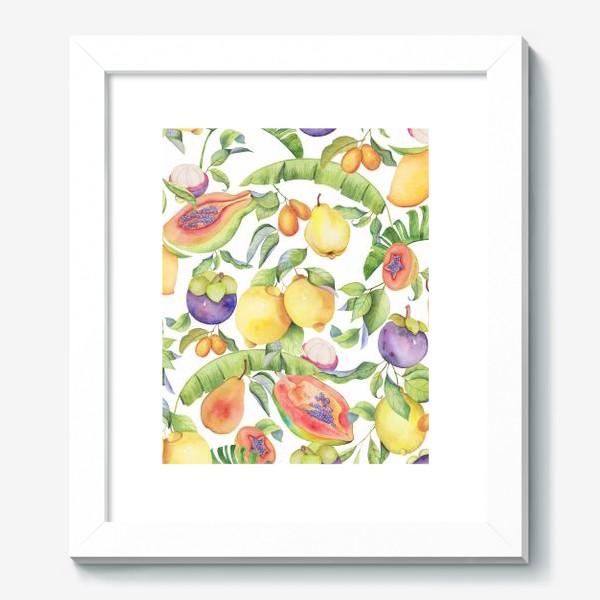 Картина «Сочные тропические фрукты на белом: папайа, мангостин и цитрусы»