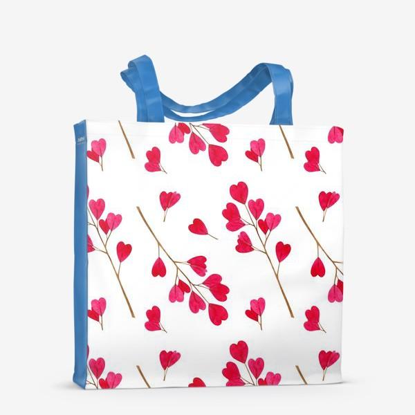 Сумка-шоппер «Ветки с красными листиками сердечками. Весенний акварельный паттерн на белом фоне ко дню влюбленных»
