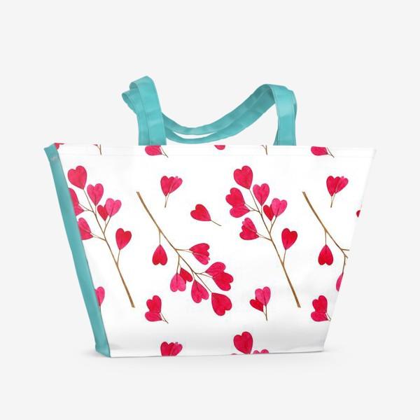 Пляжная сумка «Ветки с красными листиками сердечками. Весенний акварельный паттерн на белом фоне ко дню влюбленных»