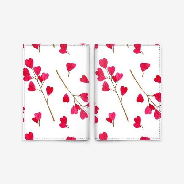 Обложка для паспорта «Ветки с красными листиками сердечками. Весенний акварельный паттерн на белом фоне ко дню влюбленных»