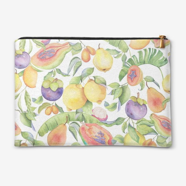 Косметичка «Сочные тропические фрукты на белом: папайа, мангостин и цитрусы»