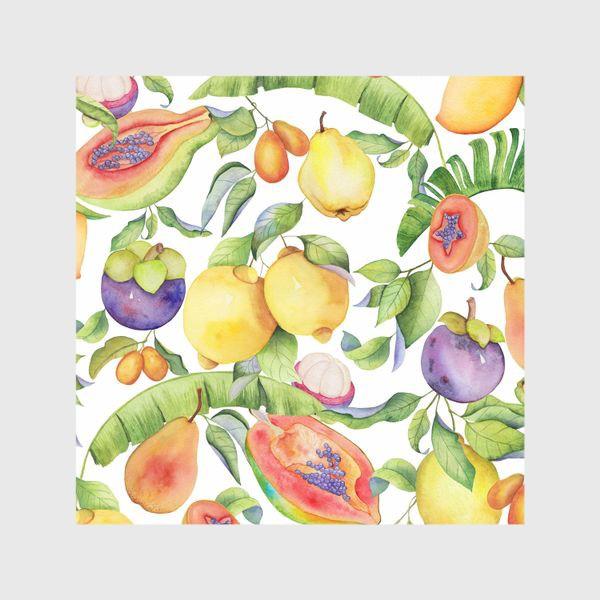 Шторы «Сочные тропические фрукты на белом: папайа, мангостин и цитрусы»