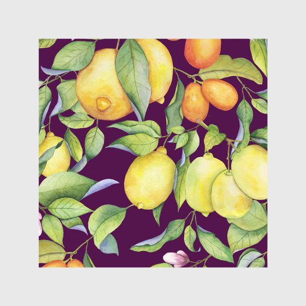 Шторы «Лимоны и цитрусы на фиолетовом. Акварель»