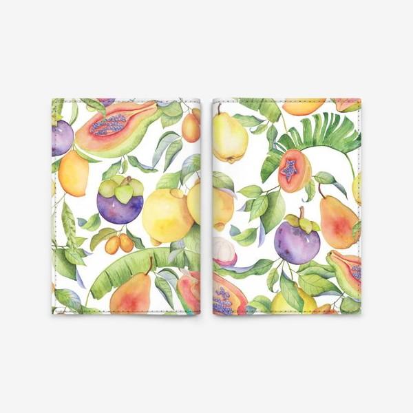 Обложка для паспорта «Сочные тропические фрукты на белом: папайа, мангостин и цитрусы»