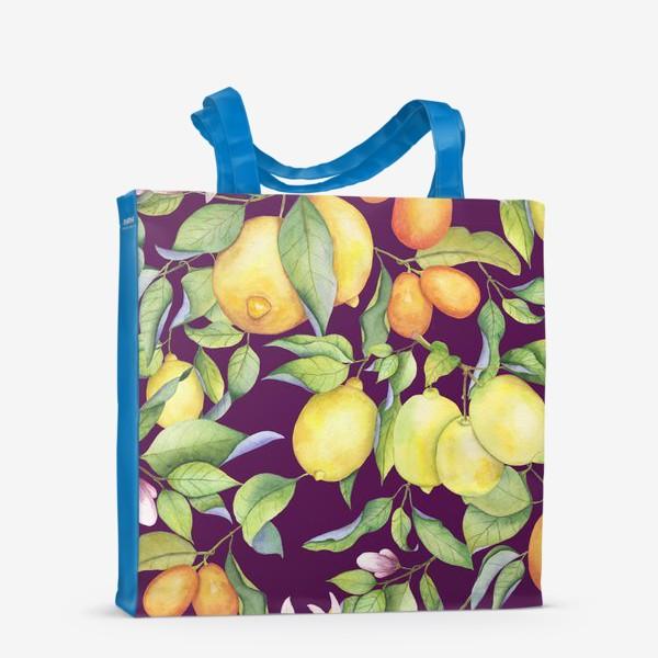 Сумка-шоппер «Лимоны и цитрусы на фиолетовом. Акварель»