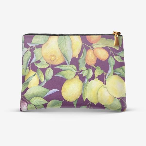 Косметичка «Лимоны и цитрусы на фиолетовом. Акварель»