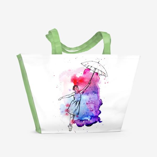 Пляжная сумка «девушка с зонтом»