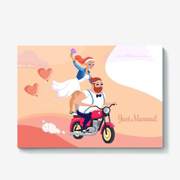 Холст «Молодожены на мотоцикле. »