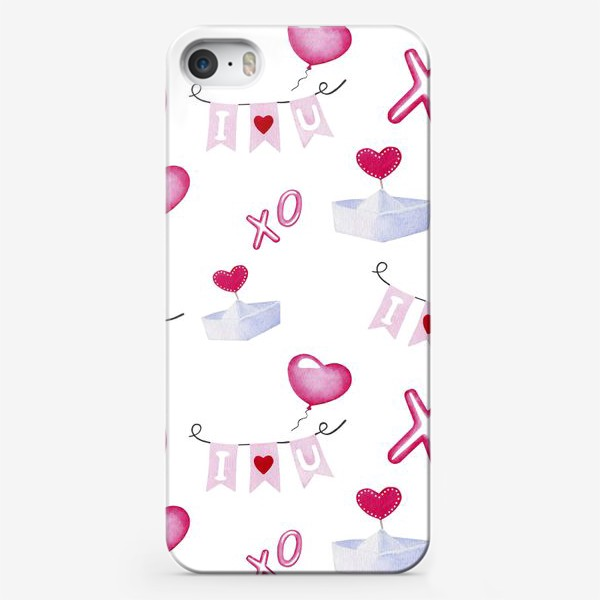 Чехол iPhone «Паттерн ко дню св.Валентина, белый фон»
