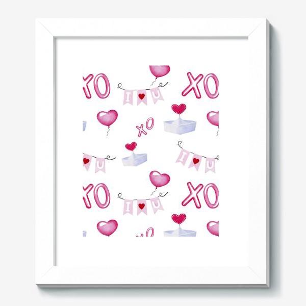 Картина «Паттерн ко дню св.Валентина, белый фон»