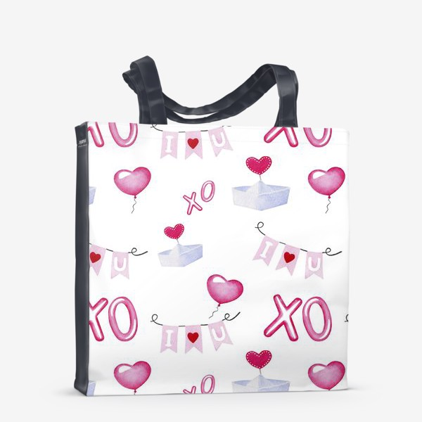 Сумка-шоппер «Паттерн ко дню св.Валентина, белый фон»
