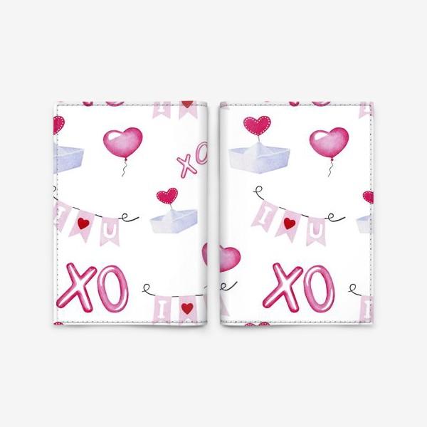 Обложка для паспорта «Паттерн ко дню св.Валентина, белый фон»