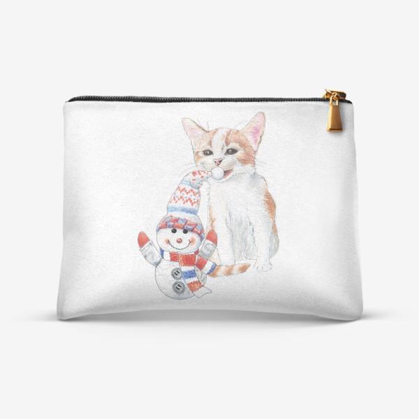 Косметичка «котенок со снеговиком»