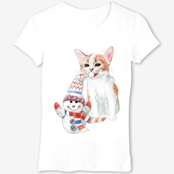 Футболка «котенок со снеговиком»