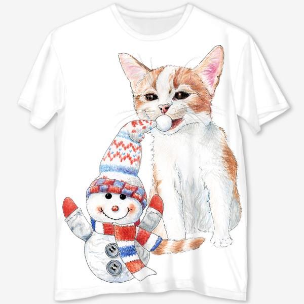 Футболка с полной запечаткой «котенок со снеговиком»