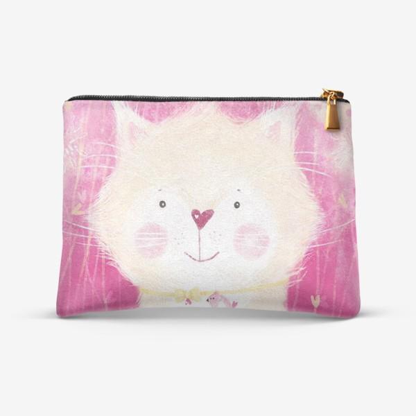 Косметичка «Котик на розовом фоне»