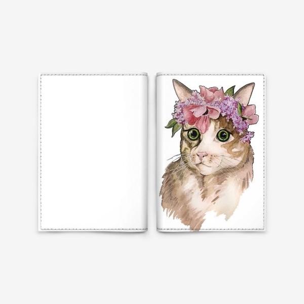 Обложка для паспорта «Кот в сирени»