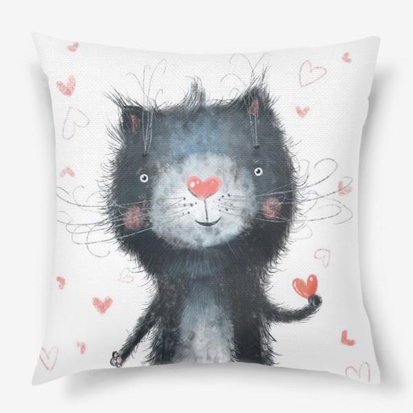 Подушка «Котик на белом фоне»