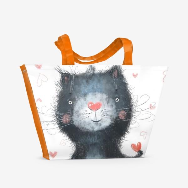 Пляжная сумка «Котик на белом фоне»