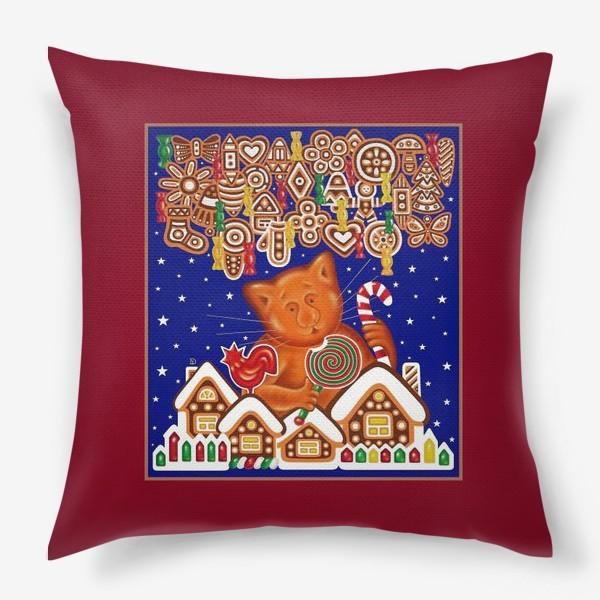 Подушка «Сладкая сказка, или Пряничный кот на вишневом фоне»