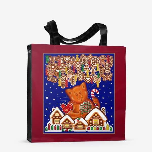 Сумка-шоппер «Сладкая сказка, или Пряничный кот на вишневом фоне»