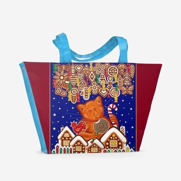 Пляжная сумка «Сладкая сказка, или Пряничный кот на вишневом фоне»