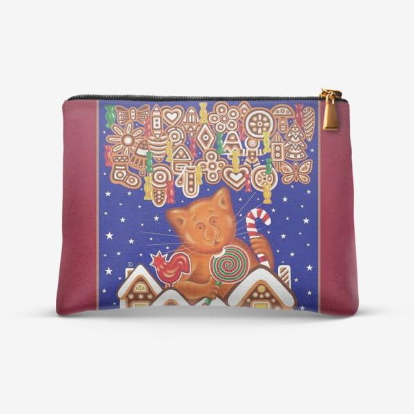 Косметичка «Сладкая сказка, или Пряничный кот на вишневом фоне»