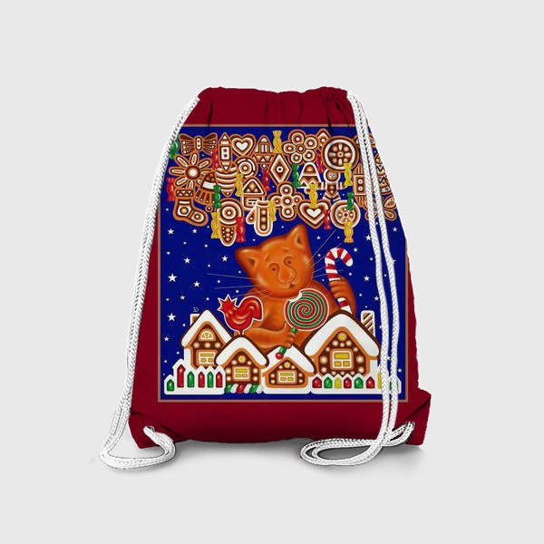Рюкзак «Сладкая сказка, или Пряничный кот на вишневом фоне»