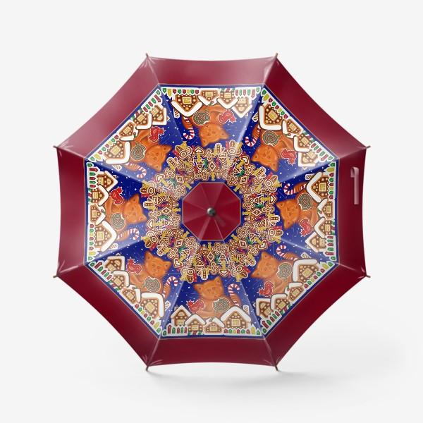 Зонт «Сладкая сказка, или Пряничный кот на вишневом фоне»