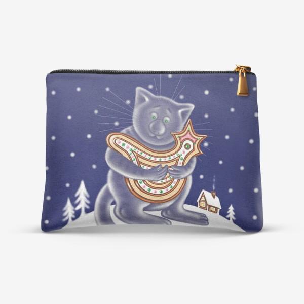 Косметичка «Ночной зимний кот»
